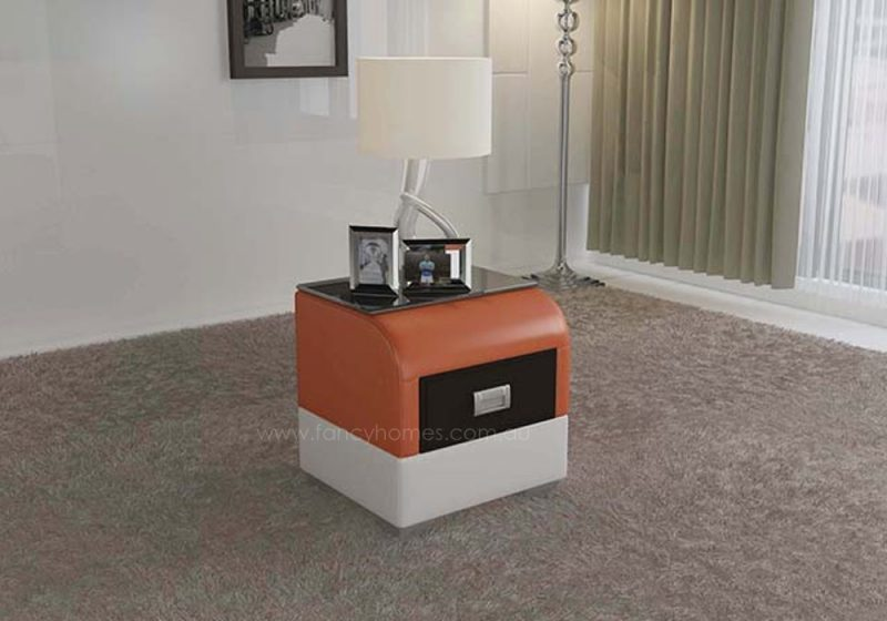 Fancy Homes NS9901 bedside table in orange and white