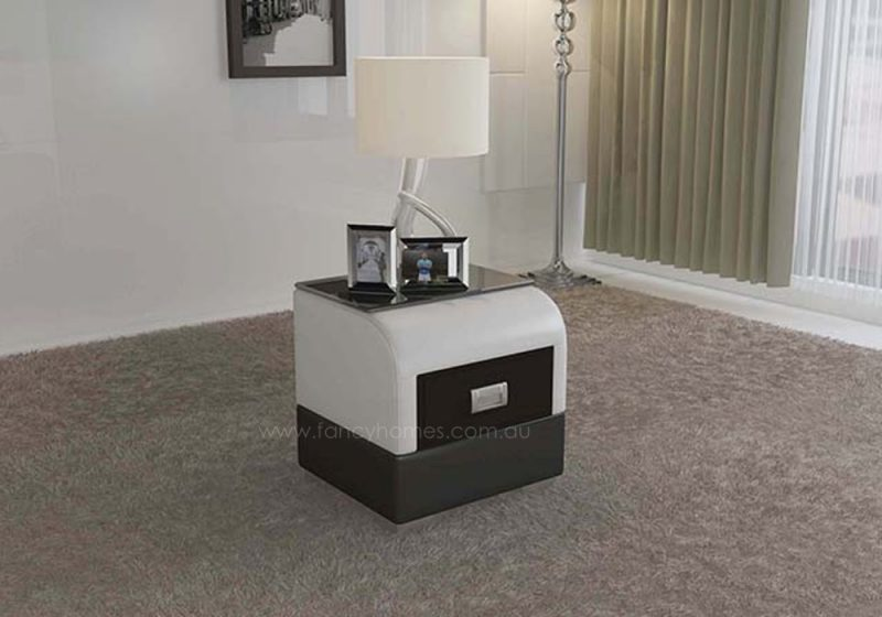 Fancy Homes NS9901 bedside table in white and black