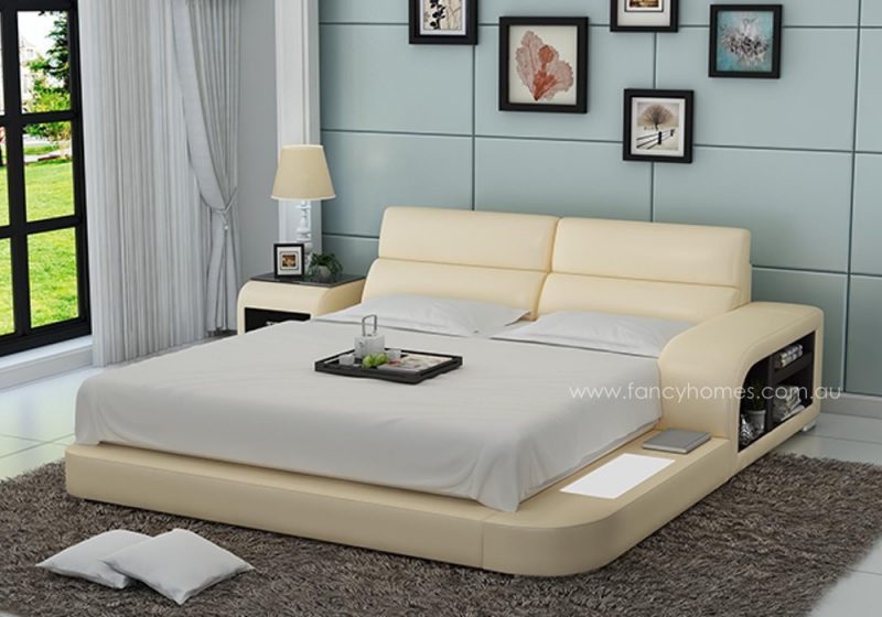 Fancy Homes Nario contemporary Italian leather bed frame in beige and brown