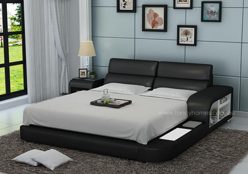 Fancy Homes Nario contemporary Italian leather bed frame in black and white leather