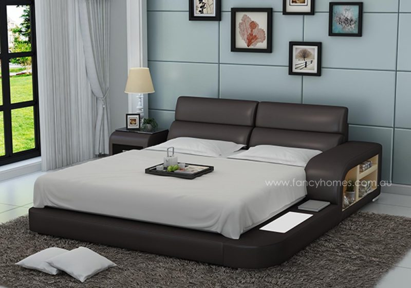 Fancy Homes Nario contemporary Italian leather bed frame in brown and beige leather