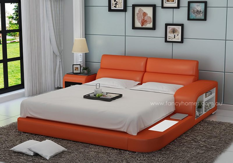 Fancy Homes Nario contemporary Italian leather bed frame in orange and white leather