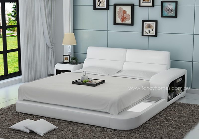 Fancy Homes Nario contemporary Italian leather bed frame in white and black leather