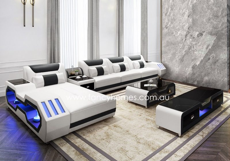 Fancy Homes Razzo-C chaise leather sofa in white and black leather