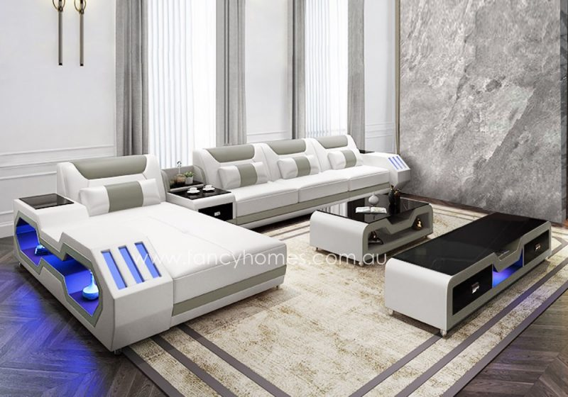 Fancy Homes Razzo-C chaise leather sofa in white and grey leather