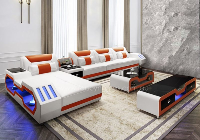Fancy Homes Razzo-C chaise leather sofa in white and orange leather