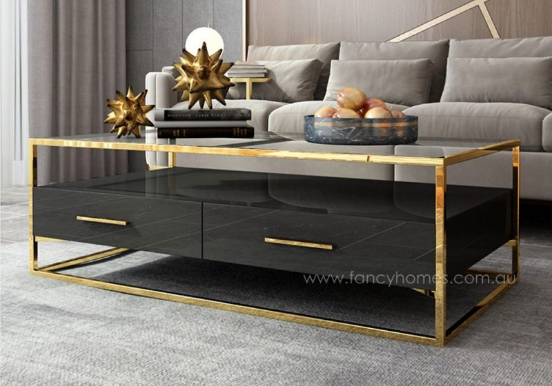 Fancy Homes QSCT8882 coffee table in black and gold
