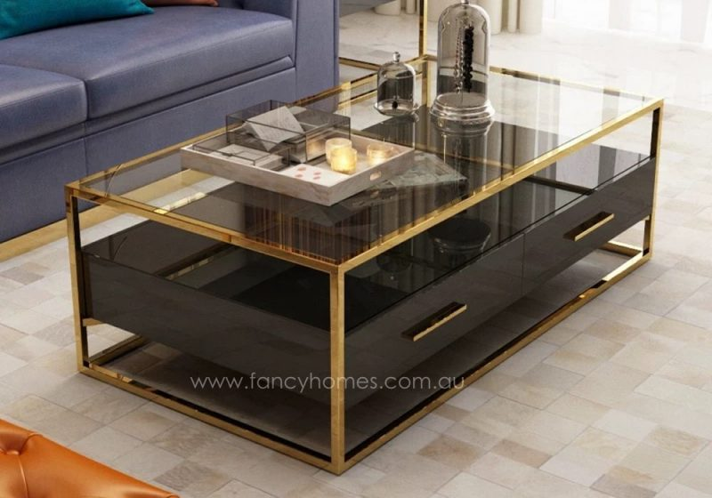 Fancy Homes QSCT8882 coffee tables in black and gold. Features stainless steel frame, tempered glass top, lacquered MDF and wood. All drawers with soft close mechanism