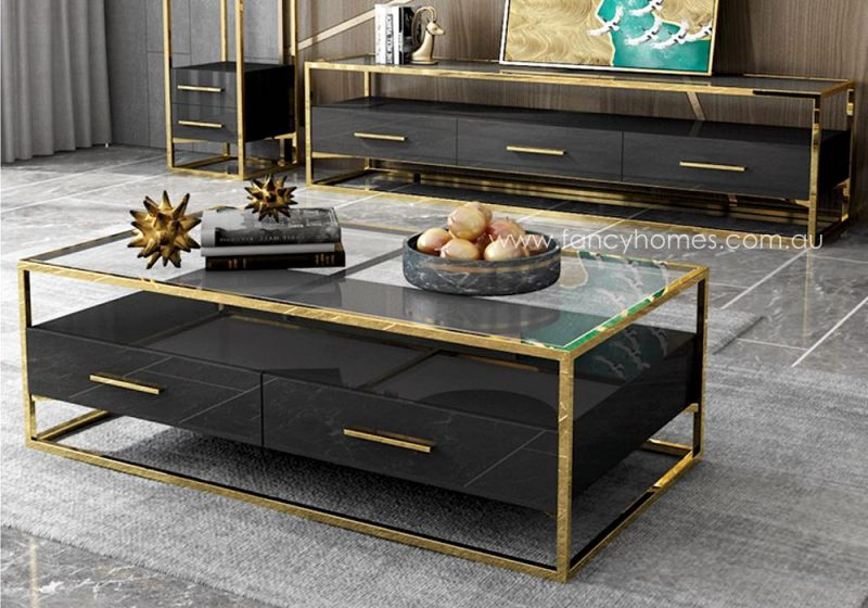 Fancy Homes QSCT8882 coffee table black and gold