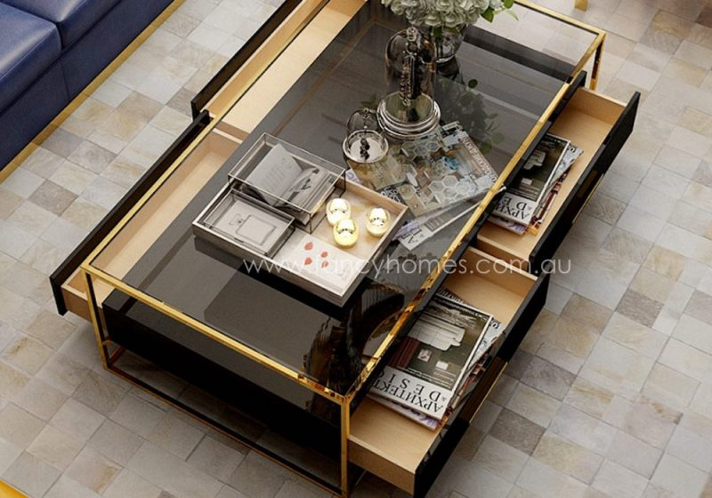 Fancy Homes QSCT8882 coffee table in black and gold features four drawers and all with soft close system