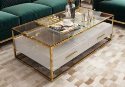 Fancy Homes QSCT8882 coffee tables in white and gold. Features stainless steel frame, tempered glass top, lacquered MDF and wood. All drawers with soft close system