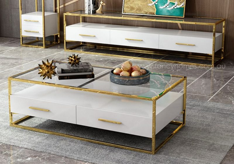 Fancy Homes QSCT8882 coffee table in white and gold