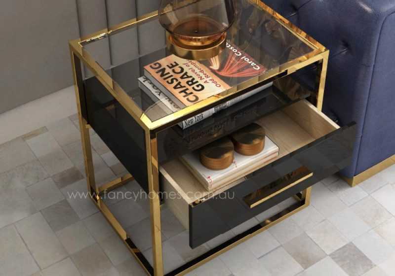Fancy Homes QSCT8882 side table in black and gold featuring tempered glass, stainless steel and soft close draw unit