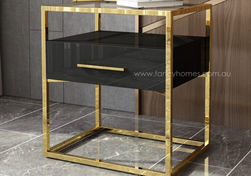 Fancy Homes QSCT8882 side table in black and gold