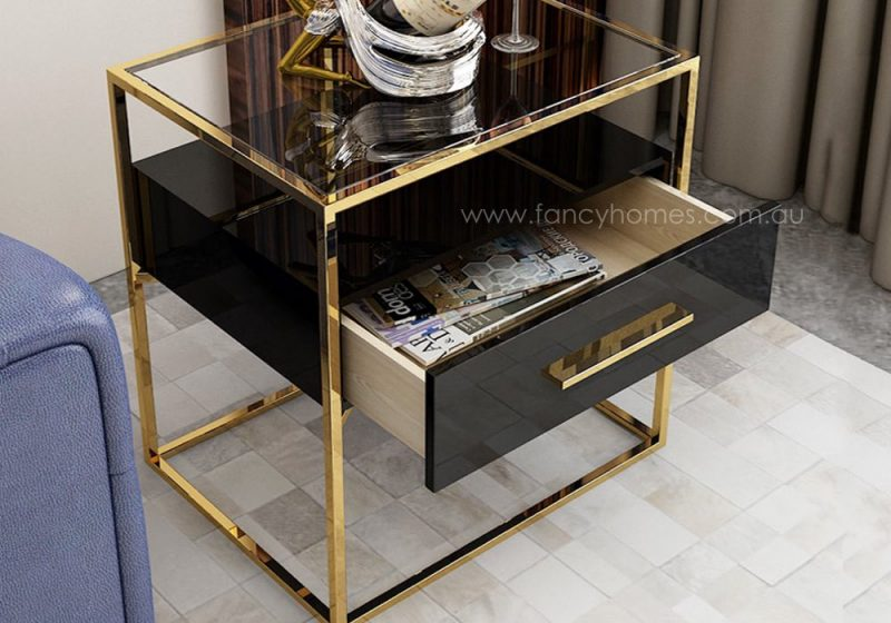 Fancy Homes QSCT8882 side table black and gold