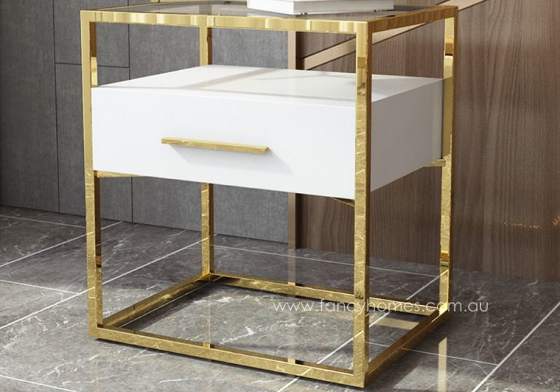 Fancy Homes QSCT8882 side table in white and gold