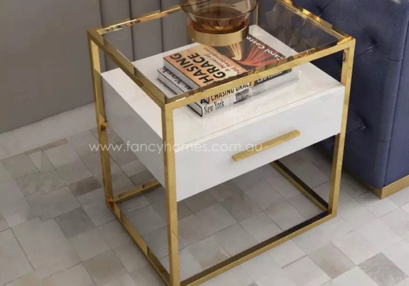 QSCT8882 side table white and gold