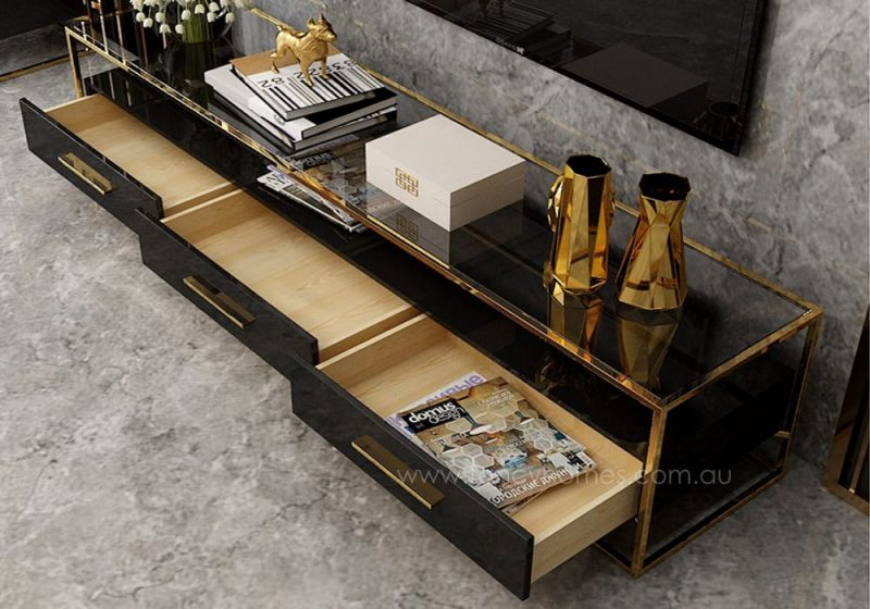Fancy Homes QSCT8882 tv unit in black and gold featuring soft close drawers