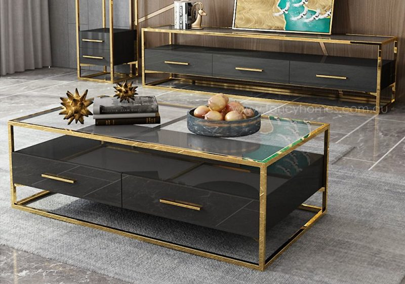 Fancy Homes QSCT8882 tv unit in black and gold