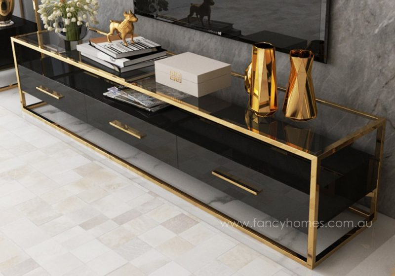 QSCT8882 TV unit black and gold