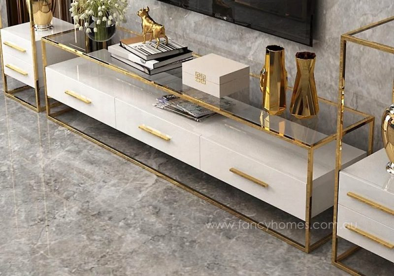 QSCT8882 tv unit white and gold