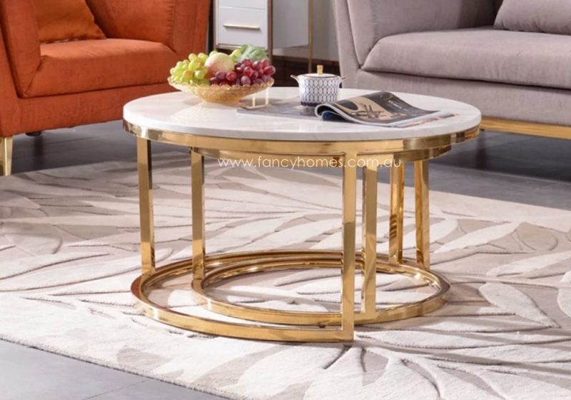 Fancy Homes Chelsea Space-saving Marble Top Coffee Table Set