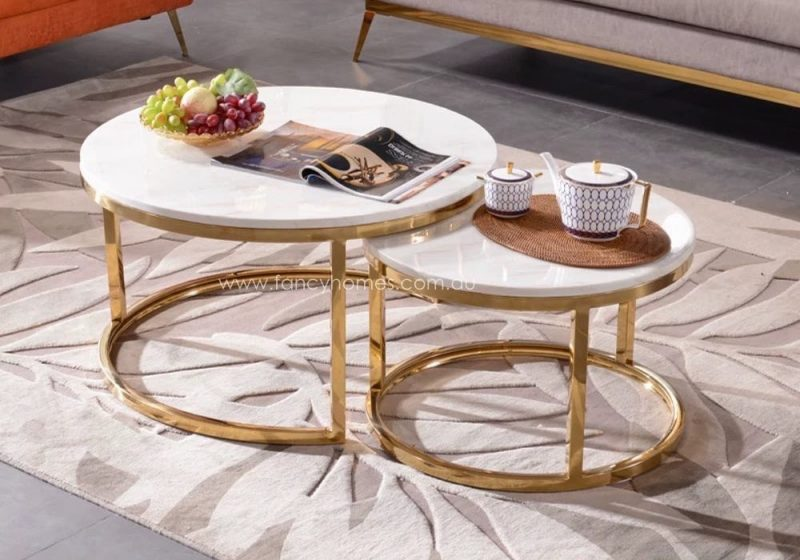 Fancy Homes Chelsea Space-saving Chelsea Marble Top Coffee Table Set with Stainless Steel Base