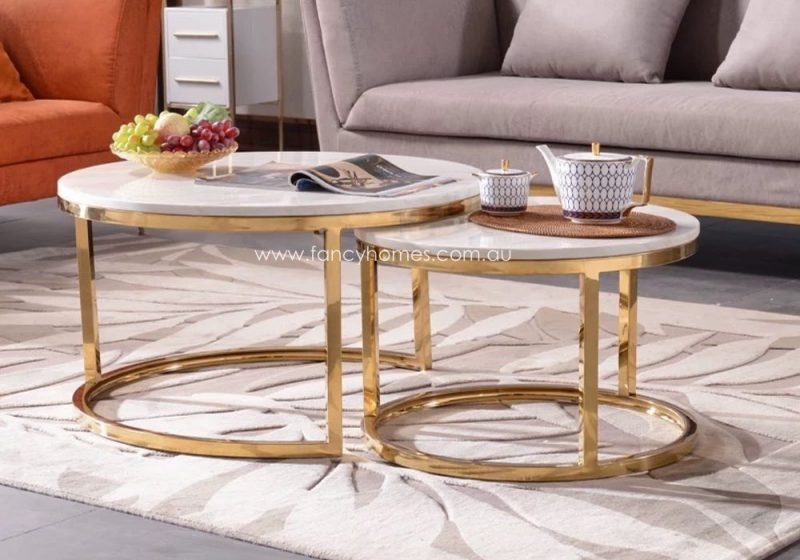 Fancy Homes Chelsea Marble Top Coffee Table Set