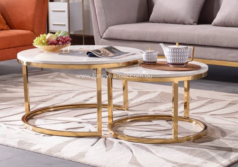 chelsea marble top coffee table gold base