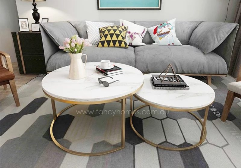 Fancy Homes Chelsea marble top and stainless steel coffee table