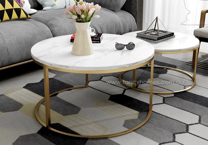 Fancy Homes Chelsea marble top and stainless steel coffee table side