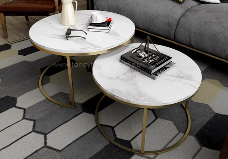 Fancy Homes Chelsea marble top and stainless steel coffee table set