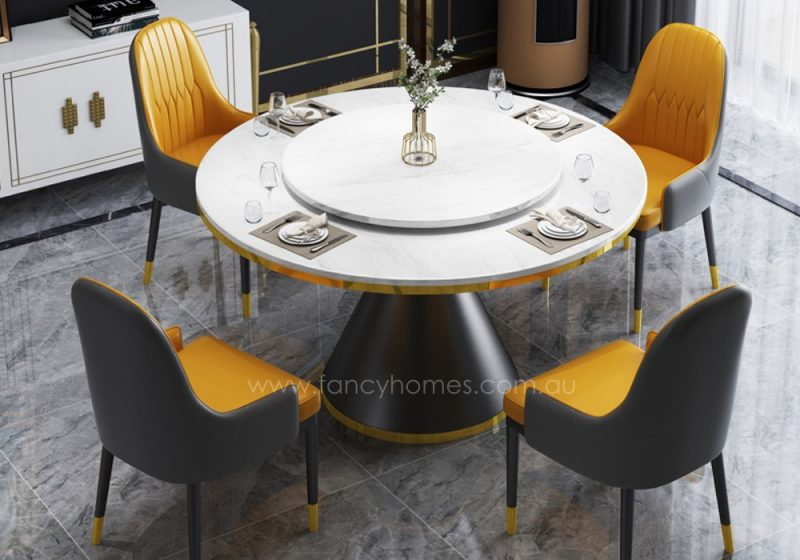 Fancy Homes Cleo round marble top 4 chair dining set