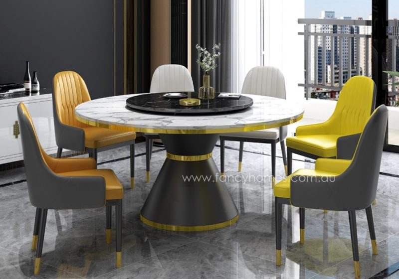Fancy Homes Cleo 6 chairs round marble top dining set