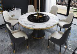 Fancy Homes Cleo round marble top 6 chairs dining set