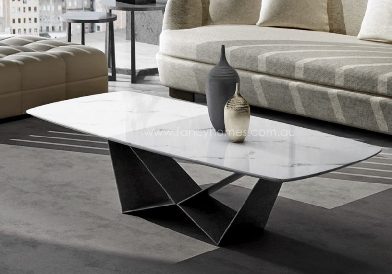 Fancy Homes Constance marble top coffee table features carbon steel base