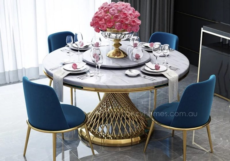 Fancy Homes Fiamma round marble top dining set with 4 chairs and Lazy Susan