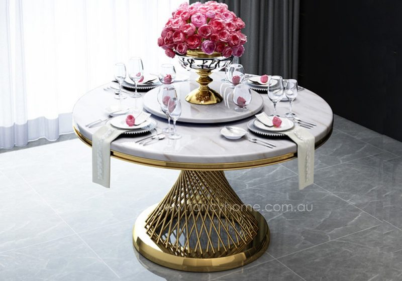 Fancy Homes Fiamma round marble top dining set table details