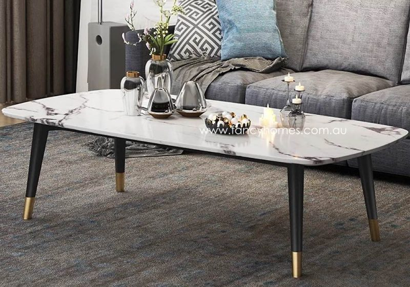 Fancy Homes Lexi marble top coffee table with ash wood legs