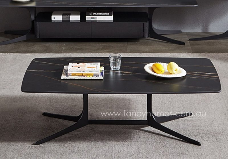 Fancy Homes Noah sintered stone coffee table with carbon steel base