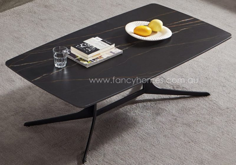 Noah sintered stone top coffee table with carbon steel base