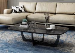 Oscar Marble Top Coffee Table with Carbon Steel Legs