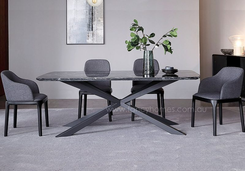 Fancy Homes Waverly marble top dining table featuring carbon steel legs