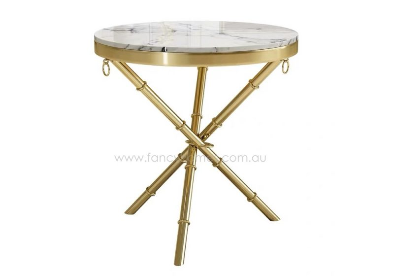 Fancy Homes Alba marble top side table with stainless steel base