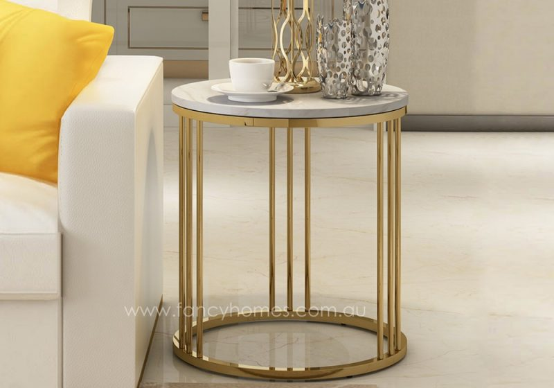 Fancy Homes Bess marble top side table with stainless steel base