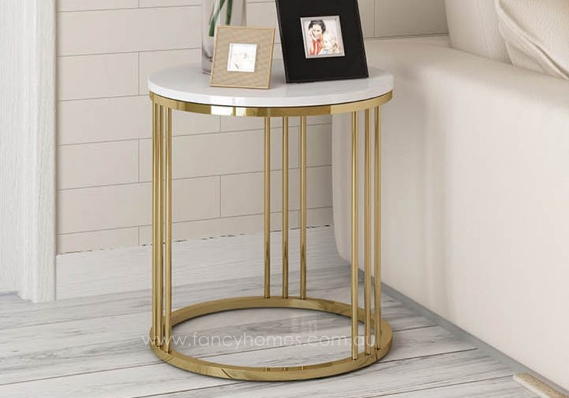 Fancy Homes Bess marble top side table