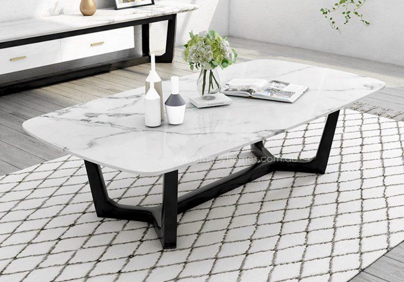 Fancy Homes Jacob marble top coffee table with Ash base