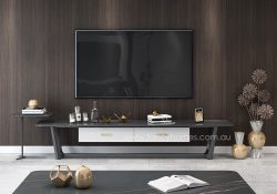 Fancy Homes Jacob sintered stone TV unit, TV furniture with Ash base