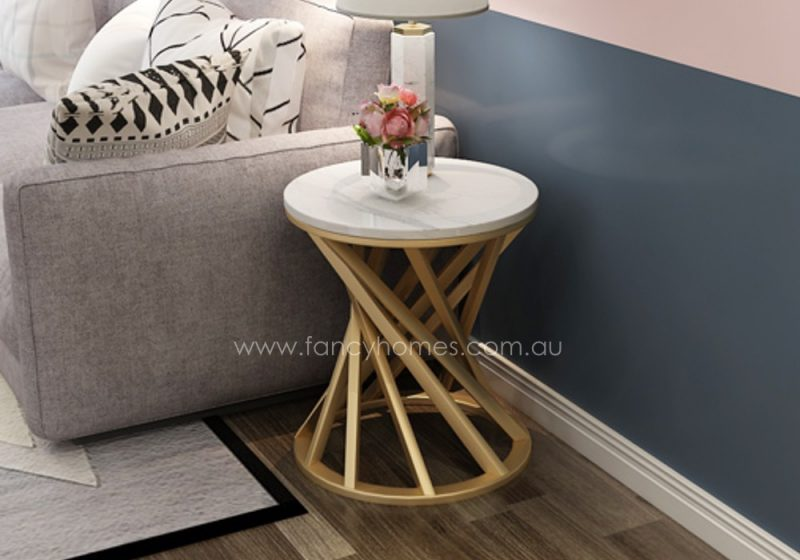 Fancy Homes Venus marble top side table with stainless steel base