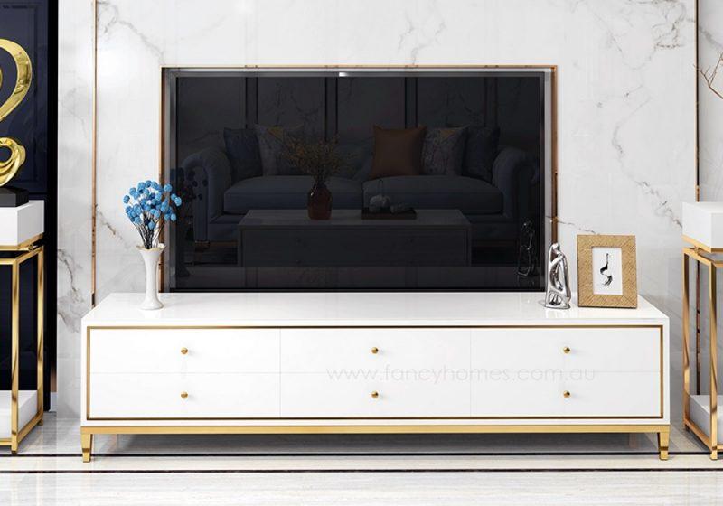 Vermont glass top storage TV unit in white